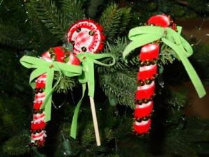 (3 pcs)  FINISHED : WALCO Holiday Ornament Kit : Candy Canes and Lollies -#4024
