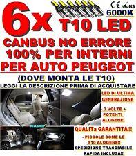 6X T10 LED CANBUS NO ERRORE 100% INTERNI PEUGEOT 207 307 308 407 3008 208 ECC..