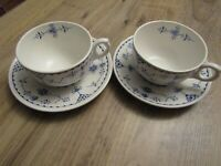 ANTIQUE DENMARK BLUE FURNIVALS 2 CUPS AND SAUCERS IN VERY GOOD CONDITION