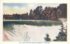 Quebec QC~Chutes Montmorency~Waterfall~Dam~Bridge Above~1950s