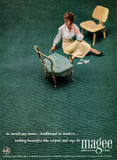 Mid-Century Modern Eames Molded Plywood Chair MAGEE CARPET 1949 Print Ad