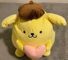 "Brand New Big Sanrio Pompompurin with Heart 12x10"" Plush Round 1 Toreba"