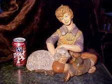 "HP LG11+""T by 13+""W Vntg HP Porcelain Boy Shepherd Sheep Herder & Lamb Figurine!"