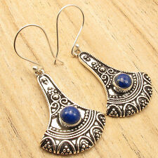 2 Inch ! Silver Plated Jewelry Cab Finish Lapis Lazuli Retro Style Earrings
