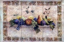 24 x 16 Art Mural Ceramic Grape Backsplash Tile #148