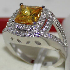 Size 10/T Lady's Handmade 925 Standard Silver Yellow Topaz Wedding Lover Ring