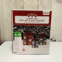 Holiday Time Set of 3 Lighted Gift Boxes Red Green Blue Christmas Decorations