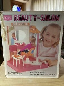 Vintage 1970s Sears Beauty-Salon with Accessories for Barbie Works w/Box
