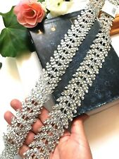 Stunning Silver Stone Embellished Indian Sari Dupatta Craft Lace trim Border