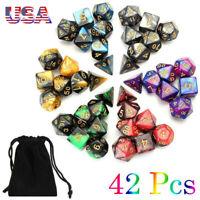 42 PCS/Set Dungeons & Dragons MTG Polyhedral Game Dice 4/6/8/10/12 DND RPG Dice