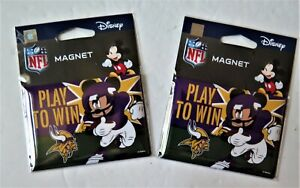 """TWO (2) MINNESOTA VIKINGS, 2.5"""" X 3.5"""" METAL MAGNETS FROM WINCRAFT"""