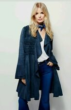 Free People blue embroidered suede coat sz L NWT  $800