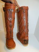 New Hector Riccione Brown Leather Tall Studded Whip Stitched Tall Boots 6 M