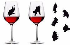 Complete set of Disney Villains Vinyl Decal Wine Glass stickers (set of 7)