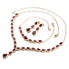 GENUINE AAA BLOOD RED RUBY PEAR 8X6 MM.& WHITE CZ STERLING 925 SILVER SET