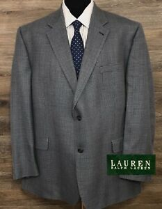 Ralph Lauren LRL Men's Silk Wool Blue Houndstooth Blazer Sport Coat Jacket 48L
