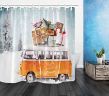 "72x72"" Waterproof Fabric Bathroom Bus with Christmas Gifts Shower Curtain Liner"