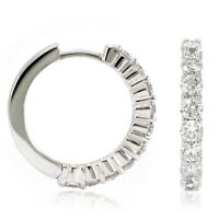 14k White Gold Diamond Huggies, 1.22tdw (NEW hoop earrings, 18mm) 4454 PL