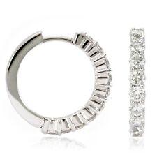 14k White Gold Diamond Huggies, 1.22tdw (NEW hoop earrings, 18mm) 4454