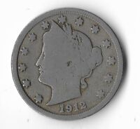 Rare Very Old Antique 1912 US Liberty V Nickel Collection Coin USA Cent Money K4