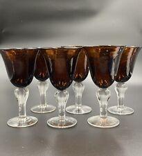 Brown Blown Glass Stemmed Goblets (set of 6)