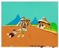 Flintstones 1980 Fred Barney Production cel and master background obg animation