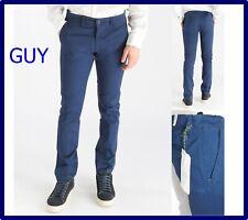 pantaloni da uomo chino slim fit eleganti elasticizzati estivi cotone blu 52 54