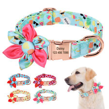 Personalised Dog Collar ID Name Engraved Nylon Floral Flower Adjustable Collar