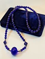 """Vintage Cobalt Blue Faceted Oval Trade Bead Necklace Large Round Center Bead 31"""""""