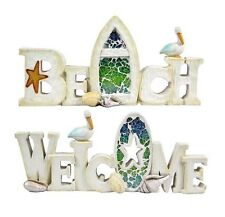 """Beach Style Wording """"BEACH & WELCOME"""" Free Standing Wall Plaque Signs (set of 2)"""