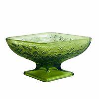 VINTAGE AVOCADO GREEN INDIANA GLASS FLORAL DIAMOND SHAPE CANDY NUT DISH BOWL EU