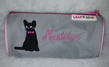 """Lilly's Kids Pink/Gray/White/Black """"Madelyn"""" Kitty Cat Pencil Marker Case Bag"""