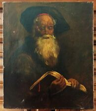 Old Master Oil Painting On Canvas Style Of Rembrandt Study Of Bearded Man Estate