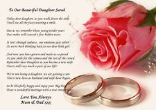 A4 VINTAGE STYLE PERSONALISED POEM TO  DAUGHTER ON WEDDING DAY IDEAL FOR FRAMING