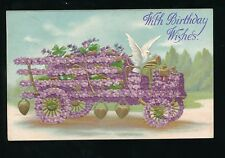 Greetings Birthday embossed violet Flower early motor bus + bird dove PPC 1906