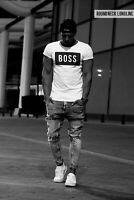 BOSS White Mens T-shirt Urban Summer Fashion Wear Slim Fit Scoop / Crew Neck 024