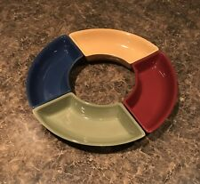 Longaberger Woven Traditions-Set Of Four Crescent Dishes, Not So Lazy Susan