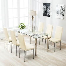 Superb 7 Piece Dining Table Set For 6 Chairs Clear Glass Metal Kitchen Room  Breakfast