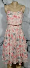 BANANA REPUBLIC Pink Beige Gray Orange Floral Print Dress 0 Spaghetti Straps