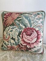 Vintage Needlepoint Shabby Chic French Cottage Pink Cabbage Roses Throw Pillow