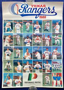 1988 Texas Rangers Team Poster / Sierra, McDowell, Incaviglia, Hough, Parrish