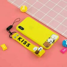 Cute Bear Popular New Hot Cartoon Silicone Case Cover For Various Phone +Lanyard