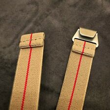 New No Pass, Diver Elastic Watch Strap Band Belt in 20mm - Khaki Tan with Red
