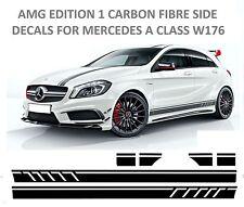 AMG Edición 1 Pegatinas Calcomanías de lado de fibra de fibra de carbono Mercedes Benz Clase A W176