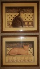 Vintage Set of 2 Decoupage Country Cat ~ Kittens Picture Wall Art Plaque