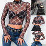 Fashion Women Plaid Mesh Perspective Short Navel Top Strech Backing T-shirt