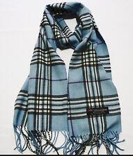 100% cashmere super soft unisex scarf neck warmer plaid design color blue