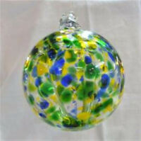 "Hanging Glass Ball 4"" Diameter Blue, Green & Yellow Witch Ball (1) GB6"