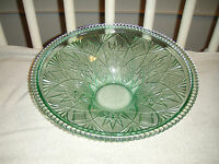 Vintage Green Glass Bowl Large Bowl 5.2LBS Ribbed Edges Cut Glass Designs