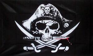 PIRATE CROSSED SABRES Flag 5x3 SKULL BLACKBEARD PIRATES